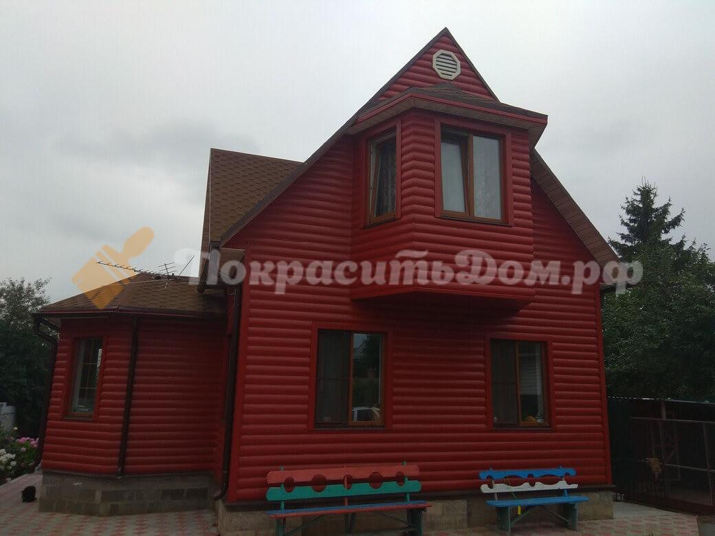 Покраска не нового каркасного дома, обшитого блок хаусом