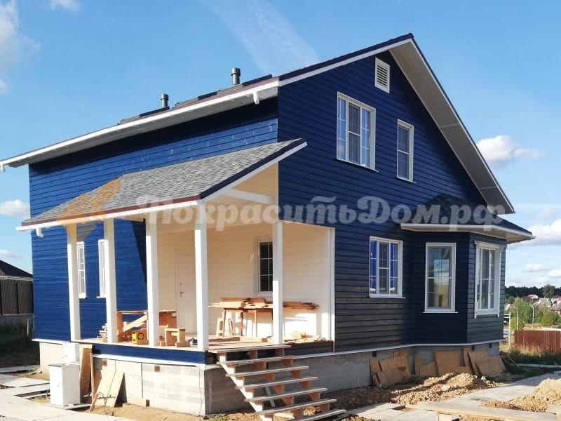 Покраска фасада и внутренних помещений деревянного каркасного дома (имитация бруса)