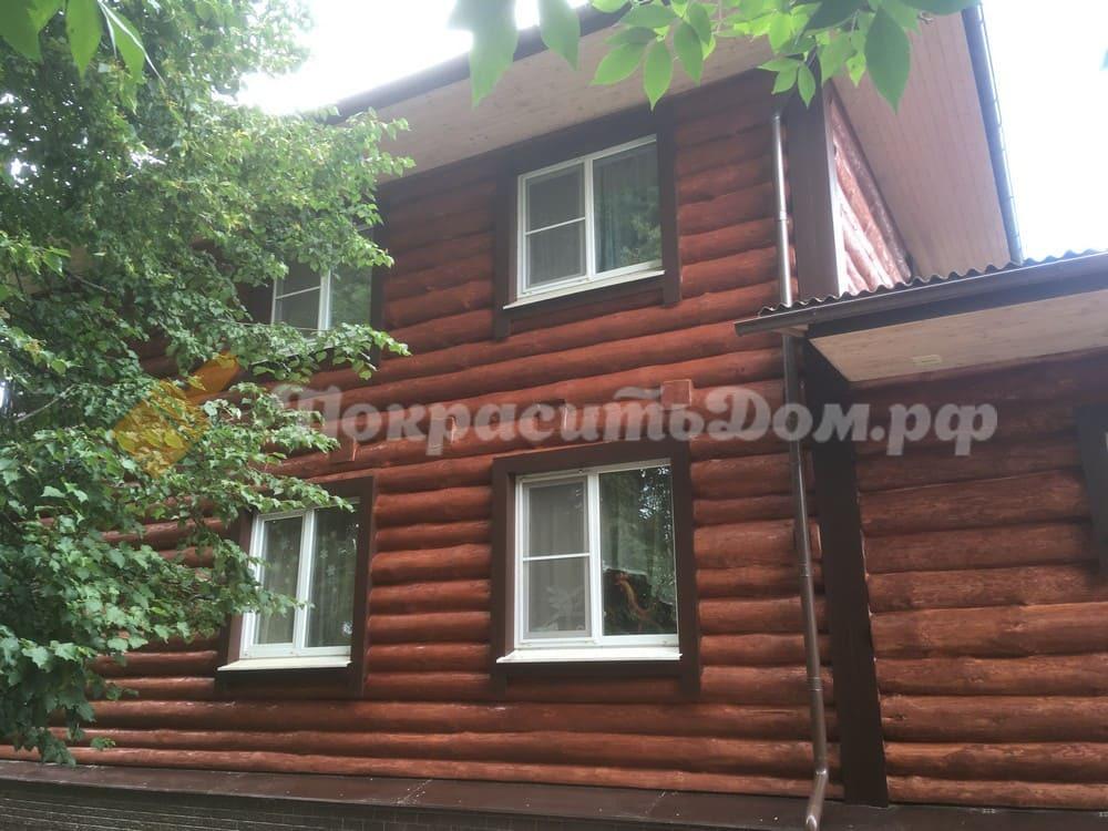 Реставрация фасада дома из рубленного бревна