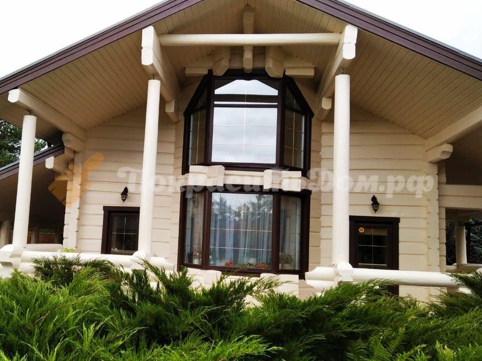 Обновление фасада дома из бревна-лафета